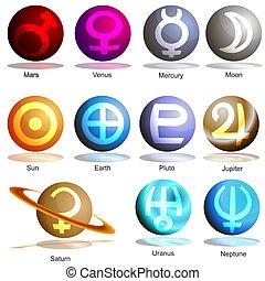 pianeta, simbolo, set, 3d
