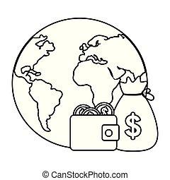 pianeta, soldi, disegno, isolato