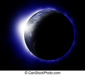 pianeta, sole, dietro, salita, terra