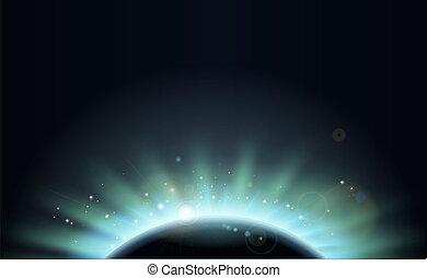 pianeta, sole, eclissi, fondo