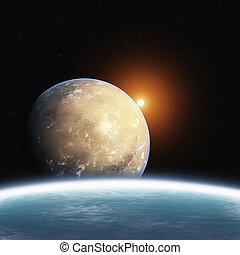 pianeta, sole, salita, deserto, terra