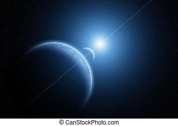 pianeta, sole, salita, terra, luna