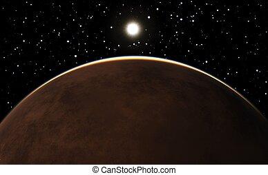 pianeta, sopra, alba, marte