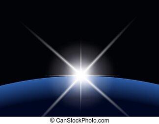 pianeta, sopra, scoppio stella