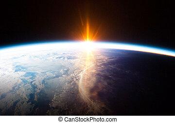 pianeta, spazio, terra, sole, osservato