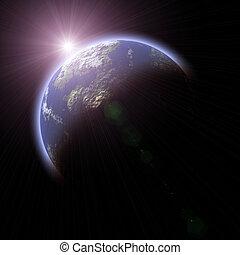 pianeta, terroso, sfondo nero