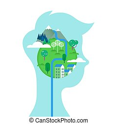 pianeta, testa, ambiente, verde, cura, uomo