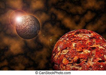 pianeta, universo, alba