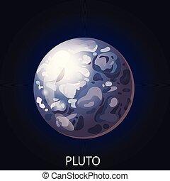 pianeta, vettore, cartone animato, illustrazione, plutone