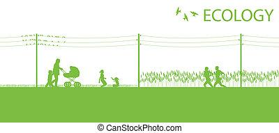 pianeta, vettore, ecologia, sfondo verde