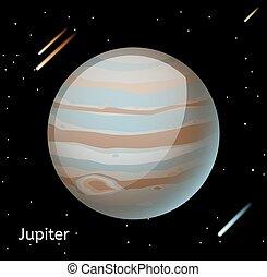pianeta, vettore, giove, illustrazione, 3d