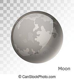 pianeta, vettore, luna, illustrazione, 3d