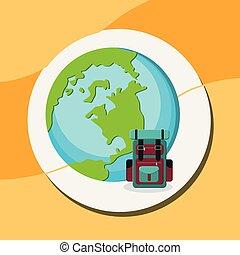 pianeta, viaggio mondo, valigia