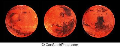 pianeta, viste, alto, marte, 3d, render, illustrazione, differente, dettagliato