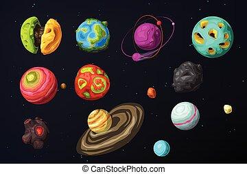 pianeti, colorito, set, straniero, spazio, vario