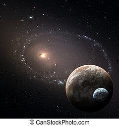 pianeti, due, profondo, spazio