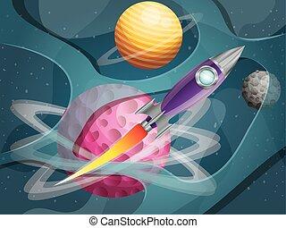 pianeti, fondo, razzo, volare, sistema, solare