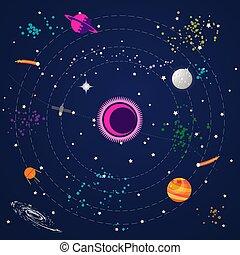pianeti, modello, seamless, stelle, spazio