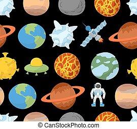 pianeti, modello, sistema, solare, seamless