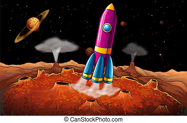 pianeti, razzo, outerspace