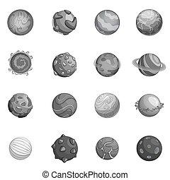 pianeti, set, monocromatico, fantastico, icone