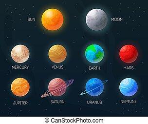 pianeti, set, sole