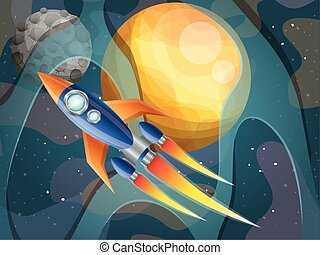 pianeti, sistema, fondo, solare, volare, razzo