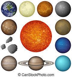 pianeti, sistema, solare, set, luna