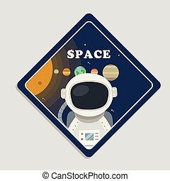 pianeti, spazio, immagine, sistema, vettore, astronauta, fondo, solare