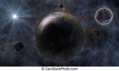 pianeti, spazio, luna, pianeta, interpretazione, sole, terra, 3d