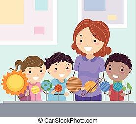 pianeti, stickman, studio, bambini, studente