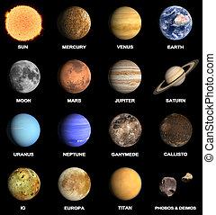 pianeti, un po', sistema, solare, lune
