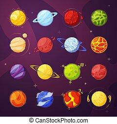 pianeti, vettore, spazio, cartone animato, illustrazioni, set, esterno