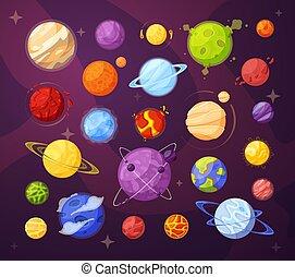 pianeti, vettore, spazio, cartone animato, stelle, illustrazioni, set