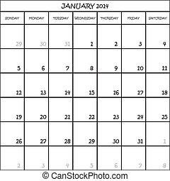 pianificatore, gennaio, mese, fondo, 2014, calendario, trasparente