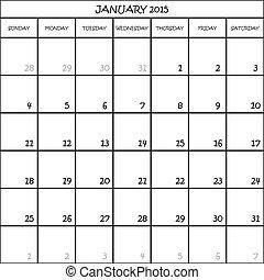 pianificatore, gennaio, mese, fondo, 2015, calendario, trasparente