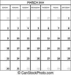 pianificatore, marzo, mese, fondo, 2014, calendario, trasparente