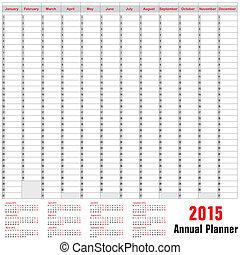 pianificatore, orario, annuale, -, 2015, tavola