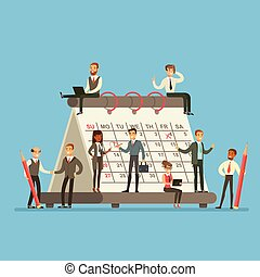pianificazione, affari discute, persone, lavorativo, strategia, parlare, gigante, calendario, intorno, ditta