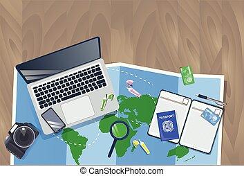 pianificazione, concetto, foto, cima, vacanza, mappa, laptop, macchina fotografica, passaporto, viaggiatore, desktop, vista