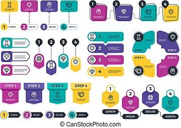 pianificazione, elementi, finanza, affari, menu, infographic., presentation., tabelle, vettore, timeline, schemi