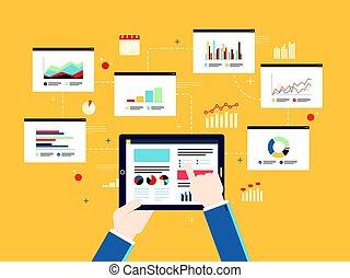 pianificazione, grafico, analytics, device., concetto, investimento, mobile, finanza