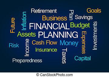 pianificazione, nuvola, finanziario, parola