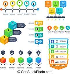 pianificazione, set, infographic, presentation., affari, timeline, tabelle, finanza, strategia, vettore, menu, diagrams.