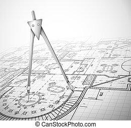 piano, architettonico, bussola
