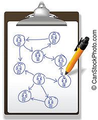 piano, diagramma, affari persone, rete, penna, appunti
