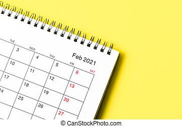 piano, febbraio, scrivania, primo piano, calendario, organizzatore, reminder., 2021
