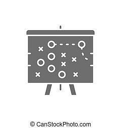 piano, icon., grigio, football, piano, tattica, gioco
