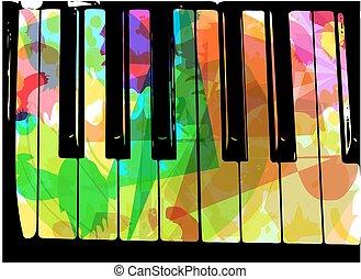 pianoforte, colorito, illustrazione