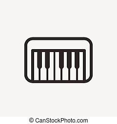 pianoforte, contorno, icona